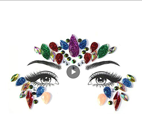 LFVGUIOP Temporäre Strass Glitter Tattoo Aufkleber Gesicht Juwelen Edelsteine   Musik Festival Party Makeup Body Juwelen Flash Face Crystal Sticker Pack of 2 -