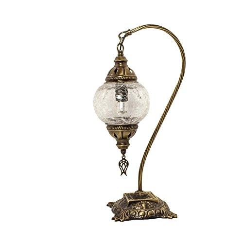 Mosaik-Lampe – türkisches Mosaik-Tisch- und Schreibtischlampe, atemberaubender marokkanischer Stil, einzigartiger Lampenschirm, Schwanenhals Serie (Azurit) -