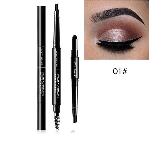 3 en 1 Eyeliner Pencil + Eyebrow Powder + Eyebrow Brush Maquillage Feutre Waterproof Pen Brosse Sourcils Poudre à Sourcils (A)