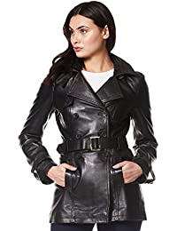 Smart Range Trench Ladies 1123 Black Classic Mid-Length Designer Real Leather Jacket Coat