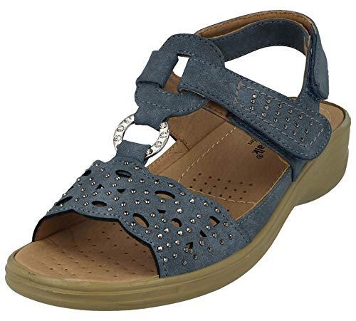 Cushion Walk Ladies Faux Suede Laser Cut Tbar Diamante Open Toe Touch Close Slingback Summer Sandals Size 3-8 (UK 5/ EU 38, Aqua)