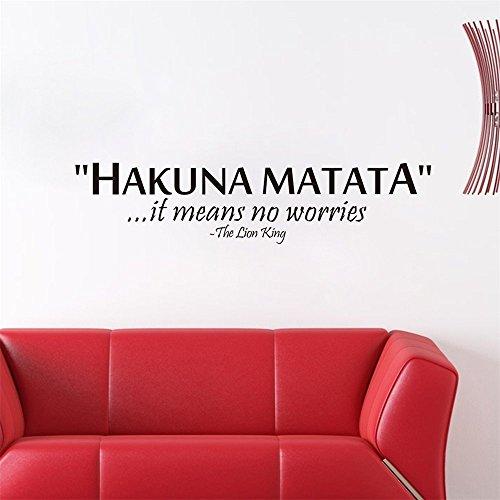"""Venkaite Wandtattoo """"hakuna matata"""" Englisch Zitat Abnehmbare Wandaufkleber für Wohnzimmer Schlafzimmer Wanddekoration 13x57 cm (5.1x22.4 inches)"""