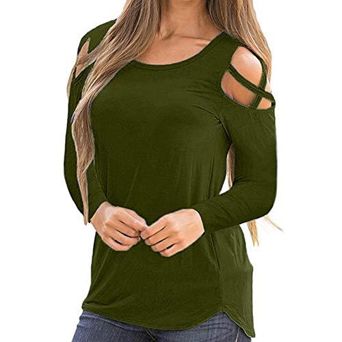URIBAKY Elegant Langarm Frauen solide Für Oberteile T-Shirt Tops Blusen Hemd Pullover Bauchfrei Schulterfreie Oansatz Riemchen Kalte Schulter