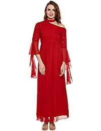 Red flared sleeves off-shoulder embroidered dress