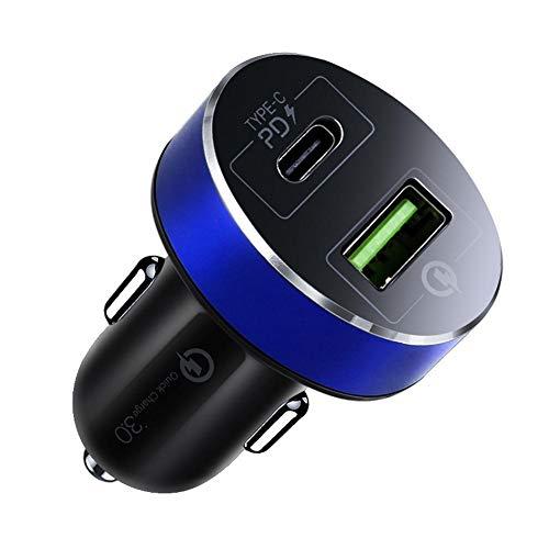 Luckyx USB Auto Adapter Ladegerät Auto Mit Zwei Ports PD USB C Power Dual Port Schnellladung, PD + QC 3.0 Handy Blitz Multifunktions 36W High Power, Tablets, Bluetooth Geräten, Powerbank Und Mehr (Dual-port-blitz-auto-ladegerät)