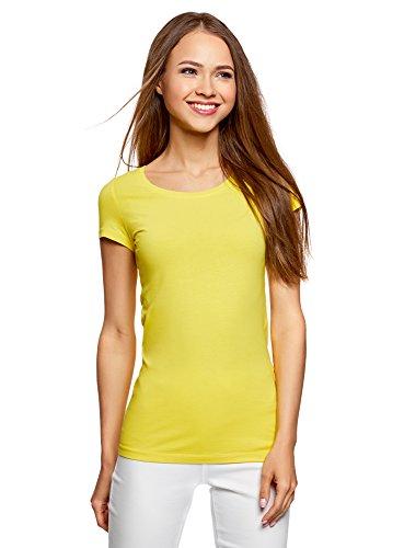oodji Ultra Damen Tailliertes T-Shirt Basic (3er-Pack), Gelb, DE 34 / EU 36 / XS