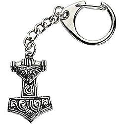 Emblems-Gifts Vikingo Martillo de Thor con Cara Hecho a Mano con Peltre Sólido en Ru Llavero ( Wa )+ 59mm Botón Insignia