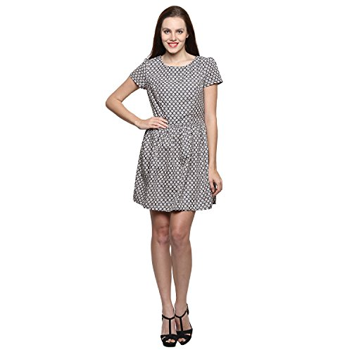 Grey & Cream Half sleeve chiffon women dress