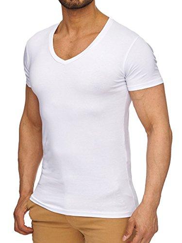 L.A.B 1928 T-Shirt Herren Shirt Kurzarm V-Ausschnitt V-Neck Weiß