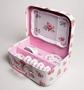 Picknickset Koffer Nostalgie Rosen weiß 15teilig