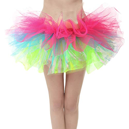 27f53f62cb4c GirstunmBrand Damen 50er Mini Tüll Tutu Puffy Ballett Bubble Rock  Regenbogen-Plus Size