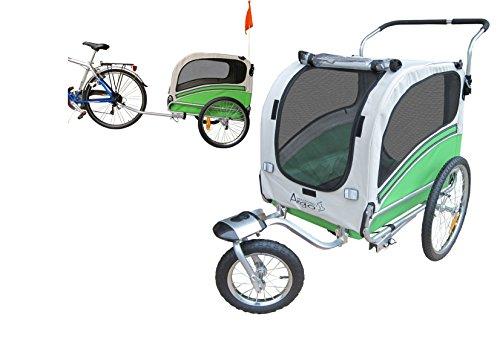 POLIRONESHOP ARGO rimorchio e passeggino per trasporto cani cane animali carrello carrellino trasportino rimorchi da bici bicicletta jogger carrozzina dog portacani portacane porta (VERDE, MEDIUM)