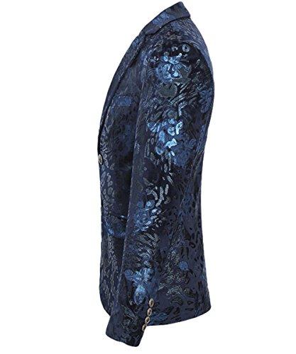 Slim Fit schnitt Herren Sakko Hochzeit Smoking Golden Blau