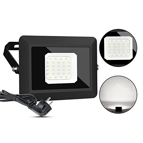 LED Fluter Außen Scheinwerfer Lampe mit Stecker 30W IP65 Wasserdicht Strahler Licht Wandleuchten 5000K Tageslichtweiß Energieklasse A+++ Gartenleuchten für Garten Deko Auffahrt Garage Beleuchtung
