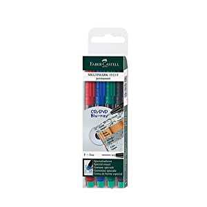 Faber-Castell Multimark Permanent F 151304 Assorted Marker Pens Pack of 4