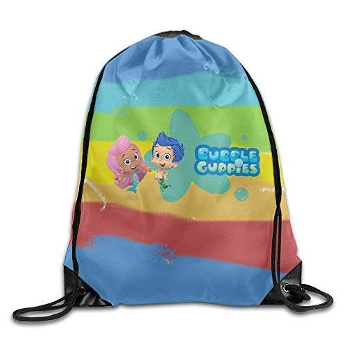 DHNKW Kids Toddler Bubble Guppies Cartoon Boys Girls T-Shirt Pink Size 3 Toddler Drawstring Sport Bag, Large Lightweight Sackpack Backpack for Men and Women