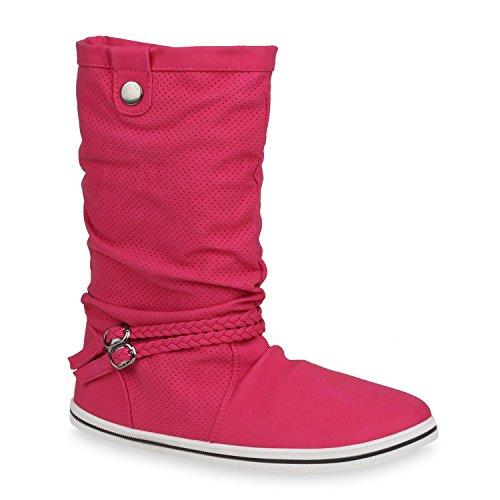 Bequeme Damen Stiefel Flache Schlupfstiefel Boots Pink Weiss