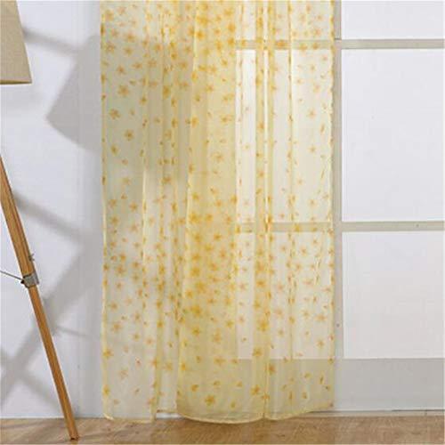 Gluckliy Ellepigy Sommer Durchscheinender Vorhang mit Ösen für Schlafzimmer Klassisches Muster Vorhang Einfarbig Wellenpunkt Thermogardinen Vorhang (Gelb)