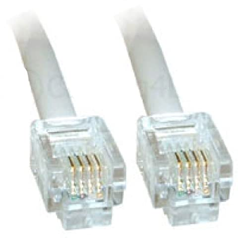 20m White ADSL Cable - High Quality (100% Copper wire) - Gold Plated Contact Pins - High Speed Internet Broadband - Router or Modem to RJ11 Phone Socket or Microfilter - White