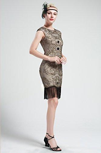 BABEYOND Damen Vintage 1920er Gatsby Kleider Perlen verziert Fransen Flapper Kleid Beige Abbildung 3