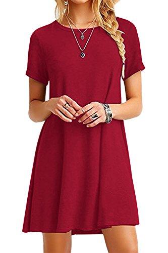 YMING Damen T-Shirt Kleid Casual Kurzarm Tunika Rundhals Loose Kleid,Rot,XS/DE 32-34