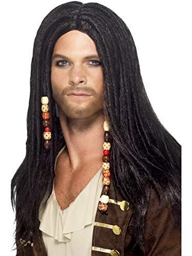 Luxuspiraten - Kostüm Accessoires Zubehör Herren Piraten Perücke Wig mit Langen Haaren und Perlen, perfekt für Karneval, Fasching und Fastnacht, Schwarz (Karibik Piraten Perücke Mit Perlen)