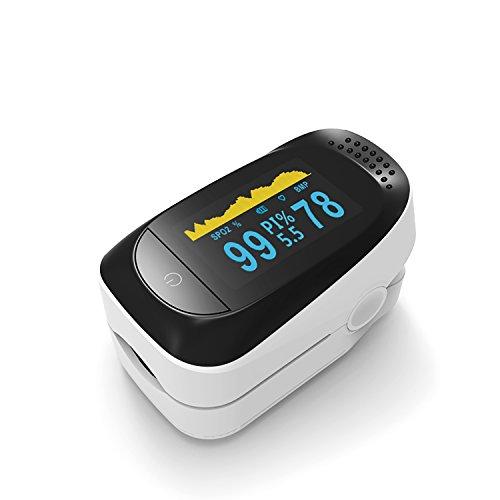 Fingertip Pulsoximeter, OXOQO Oximetrie Blutsauerstoffsättigung Herzfrequenzmesser, mit SpO2 / PR / PI / Schlafüberwachung Funktionen und OLED-Bildschirm, WEEE, CE, FDA genehmigt (Schwarz & Weiß)