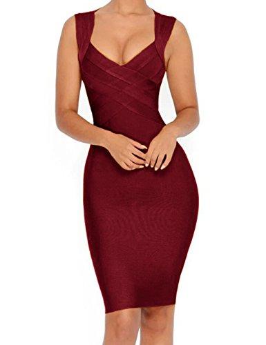 Whoinshop Damen tiefer V-Ausschnitt Bodycon Kleid Figurbetontes Partykleider Cocktailkleid Bandage...