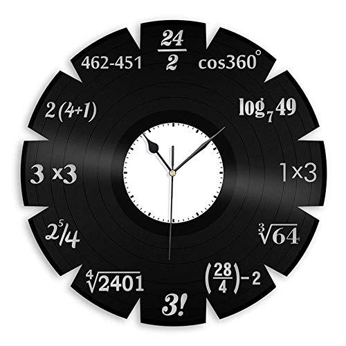 YSA 30 cm Mathematik Szene Thema Uhr Retro Vintage Schallplatte Wanduhr Dekoration, weiß (Dekoration Thema Klassenzimmer)