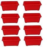Meded Garden Essential Plastic Jupitor Planter Pots (Rectangular 35 x 18cm, Red, Pack of 8)