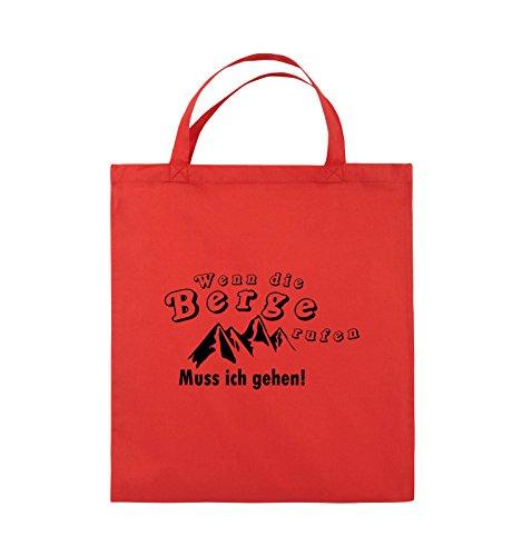 Comedy Bags - Wenn die Berge rufen - BERGE - Jutebeutel - kurze Henkel - 38x42cm - Farbe: Schwarz / Silber Rot / Schwarz