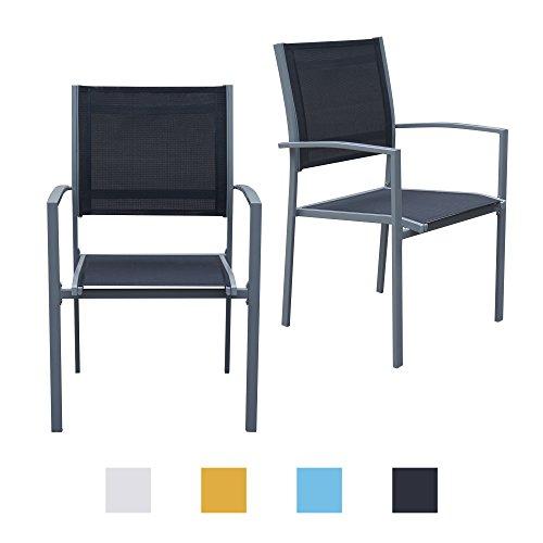 Gartenstühle mit Armlehne Doppelpack grauer Rahmen - Jalano Gartenstuhl in verschiedenen Farben wetterfest Stapelstuhl 2er Set Terrasse Gartenmöbel Bistro Stuhl (Schwarz) Bistro-stuhl