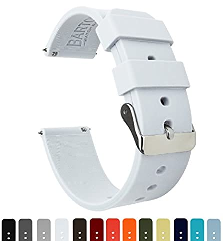 BARTON Silicone Quick Release- Choose Colour & Width (16mm, 18mm, 20mm, 22mm) - White 18mm Watch Band