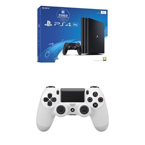 PlayStation 4 Pro (PS4) - Consola de 1 TB (incluye recarga de monedero de 10 €) + Sony - Controlador Dualshock 4 V2, Color Glacier White (PS4)