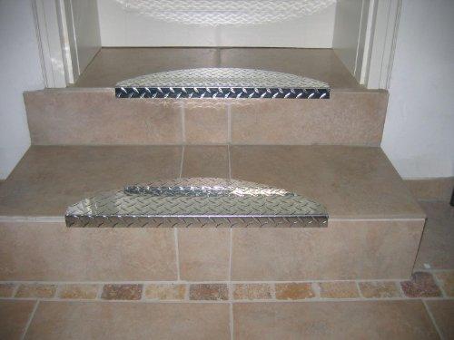 Treppenstufe ALU, 60 x 18 cm, halbrund, glänzend
