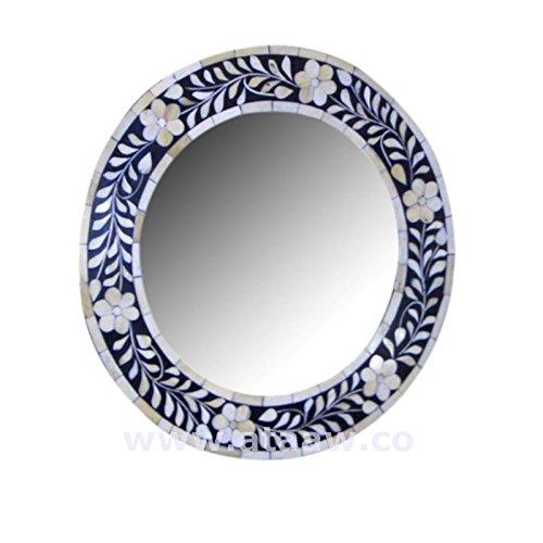 Osso intarsio cornice specchio rotondo blu mano antico arredamento (Intagliato A Mano Madreperla)