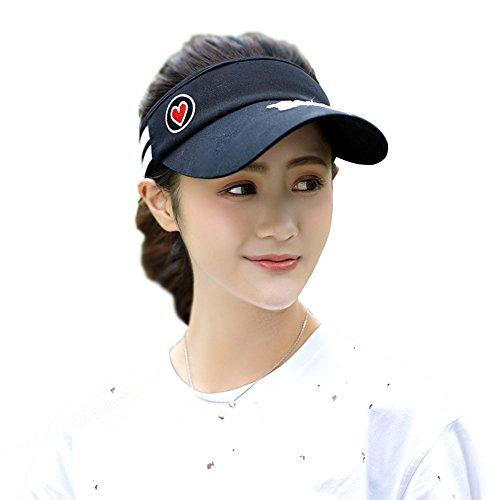 Wicemoon Sommer Visier Hat Outdoor Baseball Cap Running Verstellbarem Outdoor Golf Tennis Sport Cap für Frauen Schwarz (Cap Golf Sport)