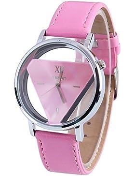 Quarz Armbanduhr - TOOGOO(R)Damen Herren Glas holen Dreieck Kunstleder Analog Quarz Armbanduhr Rosa Band und Rosa...