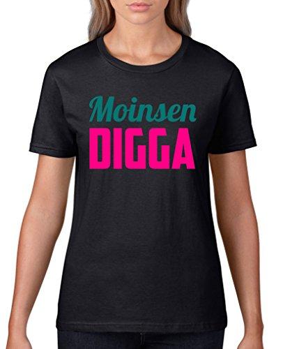 Comedy Shirts - Moinsen Digga - Damen T-Shirt - Schwarz / Pink-Türkis Gr. 3XL