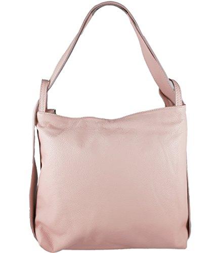Luxus-leder-taschen (Freyday 2in1 Damen Handtasche Rucksack Designer Luxus Henkeltasche aus 100% Echtleder (Rosa))