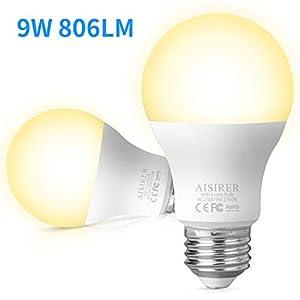 AISIRER Smart WLAN LED Lampe Wifi Glühbirne Birne 9W 806LM Kompatibel mit Amazon Alexa Echo Google Home Assistant Kein Hub Erforderlich Dimmbares Warmes Licht 2700K E27 (2 Stück)