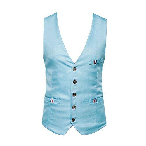 Juleya New England Stil Kleid Weste Männer Slim Fitness Casual Einreiher Anzug Weste Sleeveless Jacke Hell Blau 2XL (Männer Für Kleid-casual-weste)