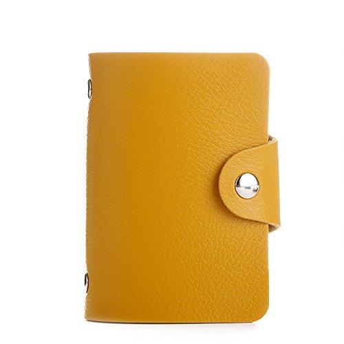 Jia Hu PU Leder Kreditkarte Halter Mit 24Kartenfächer gelb (Der Inhaber Kunststoff Brieftasche, Kreditkarte)