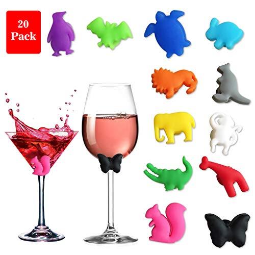Amycute 20 Stücke Tier Party Wein Glas Marker Charms Trinken Buddy Tasse Identifizierung Tasse Identifizieren Kennung Tasse Etiketten Tag Zeichen.