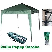 Cenador MCC@Home para jardín de 2x 2m, desplegable, impermeable, verde