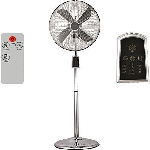 Syntrox Germany SVT-60W Chrom Retro Ventilator mit Fernbedienung, Timer und Oszillation Windmaschine Axialventilator Standventilator Lüfter Gebläse