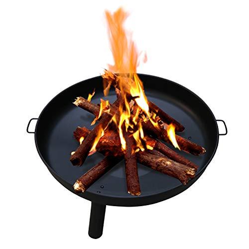 Wolketon Feuerschale Ø 82 cm, Feuerschalen Gusseisen Verzinkt mit Griffen und Abnehmbare Beine, Feuerstelle für Terrasse Draußen den Garten/Outdoor Lagerfeuer/Grillstelle -