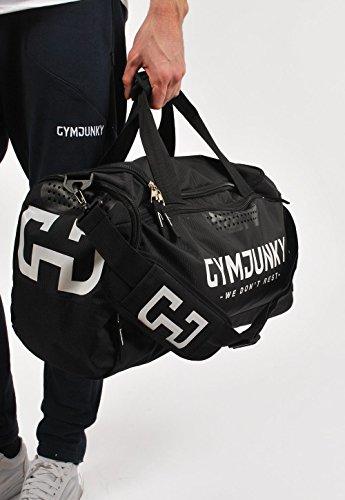 GYMJUNKY SPORTS BAG SCHWARZ/WEISS SPORTTASCHE FITNESS KRAFTTRAINING DUFFLE BAG