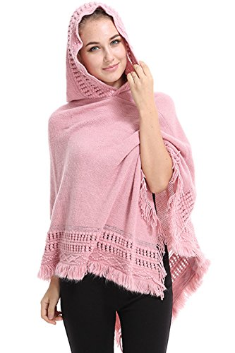 Les Mtd Manche Pur Knit Tassel Occasionnels À Cape pink