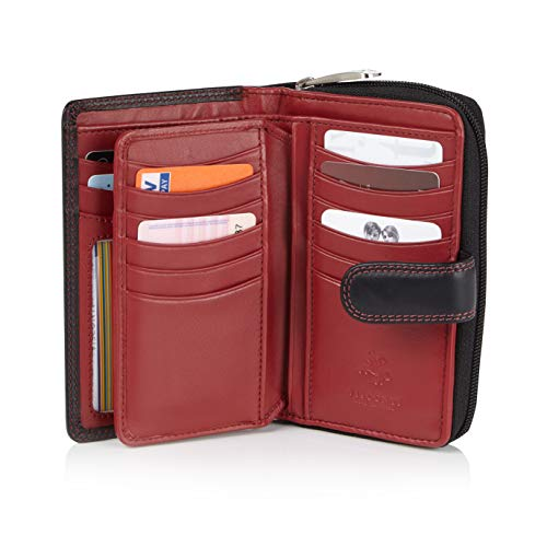 Visconti Bifold Leder Damen Geldbörse Colorado Combination Leather mehrfarbig Purse (CD-22) RFID, Schwarz/Rot (Black/Red), Large